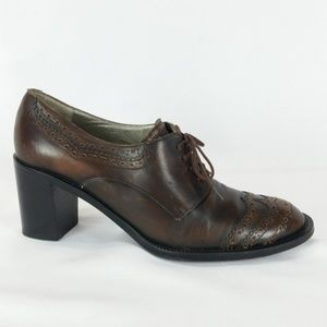 Robert Clergerie 9 Brown Oxford Loafer Heels S13-9